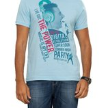 Мужская футболка LC Waikiki светло-голубого цвета с надписью на груди Music is my life