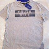 Мужская футболка LC Waikiki светло-серого цвета с надписью на груди South blue