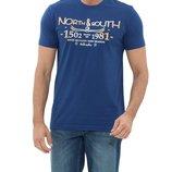 Мужская футболка LC Waikiki ярко-синего цвета с надписью на груди North south