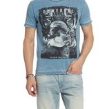 Мужская футболка LC Waikiki cветло-синего цвета с надписью на груди Powerful