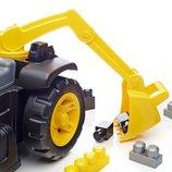 Mega Bloks машинка каталка эксковатор CAT конструктор 3в1 толокаторRideOn Caterpillar with Excavator