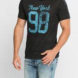 Мужская футболка LC Waikiki светло-черного цвета с надписью на груди New York 98