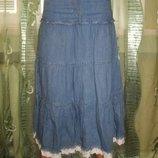 Юбка летний джинс низ шитье карманы на кокетке р. 8 select