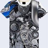 Потрясающая 3D футболка Двигатель мерседеса