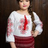Красивая вышиванка блузка на девочку с рукавом 3/4, синяя и красная
