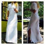 Платье женское длинное в пол из натуральной ткани лен
