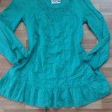 Батистовая удлиненная блуза с вышивкой,р-р 48-50