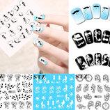 Наклейки на ногти, черный и белый рисунок кружево