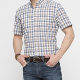в наличии мужская рубашка LC Waikiki с коротким рукавом белого цвета в сине-бежевые полоски