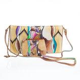 Стильная сумка-клатч из натуральной кожи с росписью