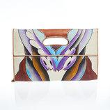 Кожаный цветной клатч с ручной росписью