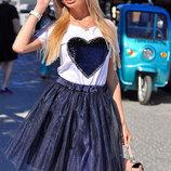 Женская стильная пышная юбка 9060 Фатин Клёш в расцветках.