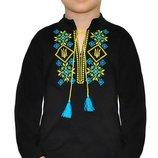 Вышиванка черная с тризубом, длинный рукав мальчику, рост 98