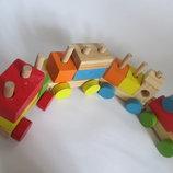 Деревянный конструктор поезд авто машина єко игрушка кубики