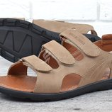 Сандалии мужские кожаные Drive бежевые на липучках made in Ukraine