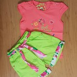 Яркий летний котоновый костюм для девочки
