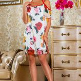 Необычайно легкое платье с ярким цветочным принтом 797