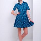 Платье Джеки К/р платье в клетку с коротким рукавом и расклешенной юбкой скл2
