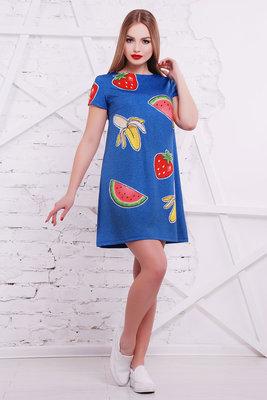 Фрукты-Вышивка Платье Тая-1 К/р короткое летнее платье-трапеция с принтом скл2