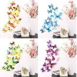 3D бабочки наклейки для декора 12 штук