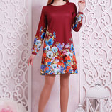 Фиалки платье Тана-1Кд креп д/р. Цвет бордовый скл2