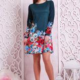 Фиалки платье Тана-1Кд креп д/р. Цвет зеленый скл2