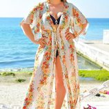 Женская длинная пляжная шифоновая туника в больших размерах 8056-74 Цветочный Принт в расцветках.