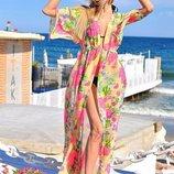 Женская длинная пляжная шифоновая туника 8045-73 Розы Акварель в расцветках.