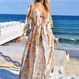Женская длинная пляжная шифоновая туника 8045-74 Цветочный Принт в расцветках.