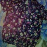 Летняя блуза в цветы с коротким рукавом