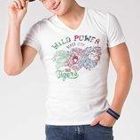 мужская футболка De Facto белого цвета с надписью на груди Wild power river city