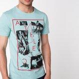 мужская футболка De Facto бледно-голубого цвета с надписью на груди Athletic