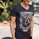 мужская футболка De Facto серого цвета с белым рисунком и надписью на груди New York