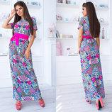 Летнее длинное женское платье 3010 Штапель Цветы Макси Пояс Контраст в расцветках.