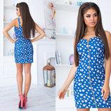 Стильное короткое летнее платье 3011 Лён Цветы Змейка Мини в расцветках
