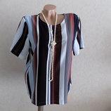 Кофта блузка свободного покроя нарядная в полоску фирменная Monki размер 48-52