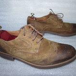 Дорогие Кожаные туфли Оксфорды бренд CLARKS Оригинал р 43,5