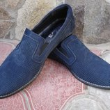Туфли мужские. А-320-С. натур. нубук. синие