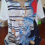 Летняя невесомая блуза-рубашка-морячка со стразами 52р