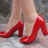 Туфли женские. S-64. натуральная кожа, красные, лак