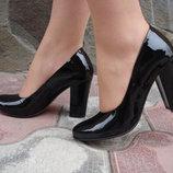 Туфли женские. S-65. натуральная кожа, черные, лак