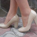 Туфли женские. S-66. натуральная кожа, беж., лак