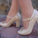 Туфли женские. S-72. натуральная кожа, беж., лак