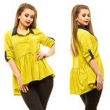 Удлиненная блузка со шлицей 50-56 р-р