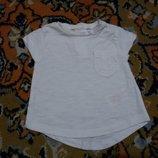 Крутая белая футболочка от F&F на 0-1 мес., 50-56 см