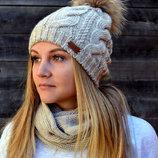Зимняя шапка на флисе, натуральный енот. р. 54-57 см