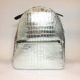 Городской рюкзак Италия, натуральна кожа, серебро, золото, хит продаж