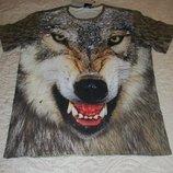 Модная 3D футболка с живым волком