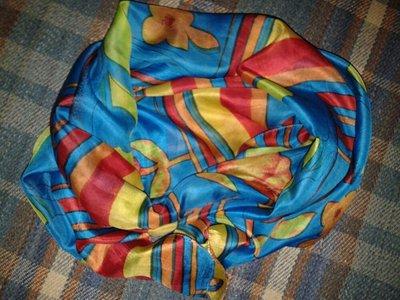 Шелковый шарфик с цветами, 100 % шелк, 176 см х 48 см