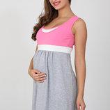 Ночная сорочка для беременных и кормящих Sela, серый меланж с розовым